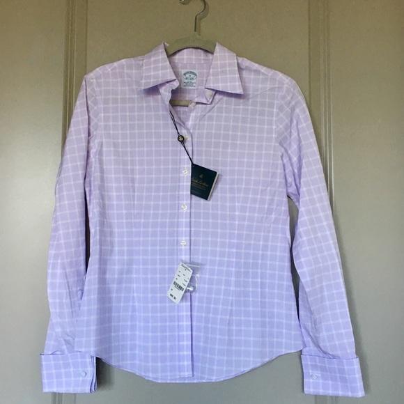 Women Brooks Brothers Womens All Cotton Non-Iron Button Down Shirt White 8